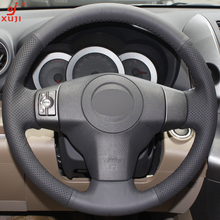 XUJI Black Leather Hand-stitched Car Steering Wheel Cover for Toyota Yaris Vios RAV4 2006-2009 Scion XB 2008