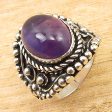Silver Plated Ring Size US 6.5 ! Fiery Amethysts ETHNIC ONLINE STORE