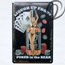 Liquor Up Front Poker in the Rear Jack Daniel's Whiskey Shabby Chic Metal Sign 20*30 cm Bar Pub Cafe Wall Art Vintage Home Decor(China)