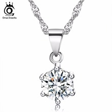 ORSA JEWELS Elegant Ladies Silver Necklace with Luxury 2ct CZ Crystal Pendant for Women 2017 Popular Wedding Accessories ON03(China)