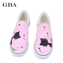 New 2017 Spring Women Canvas Shoes Cartoon Hand-Painted Shoes Harajuku Women's Flat Creepers Low Casual Board Shoes Cats Pattern