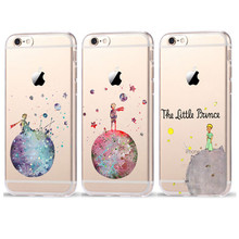 Cartoon The Little Prince The earth space Transparent Plastic Cover Case For iPhone 6 6S 7 8 X Plus 5 5S SE Case Coque Fundas(China)