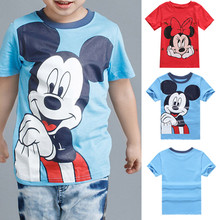 2017 Boy Girl Mickey Minnie T Shirt Short Sleeve Red Blue Cartoon kids child's clothes Tops 2-7T