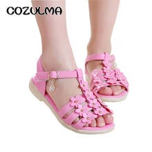 COZULMA 2017 Summer Girls Sandals Princess Flower Shoes Kids Children Flat Children Sandals Baby Shoes Leather Shoes Size 27-31