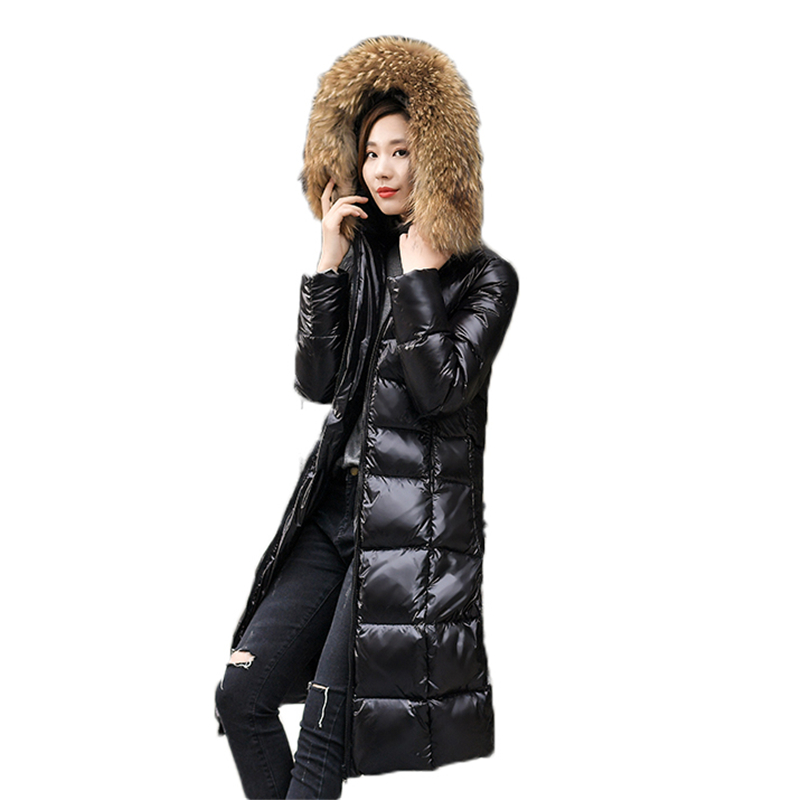 Women Coat Winter Fur Collar 2018 women down coats jackets warm women's down Jacket parkas New Winter Loose female down coatJ954