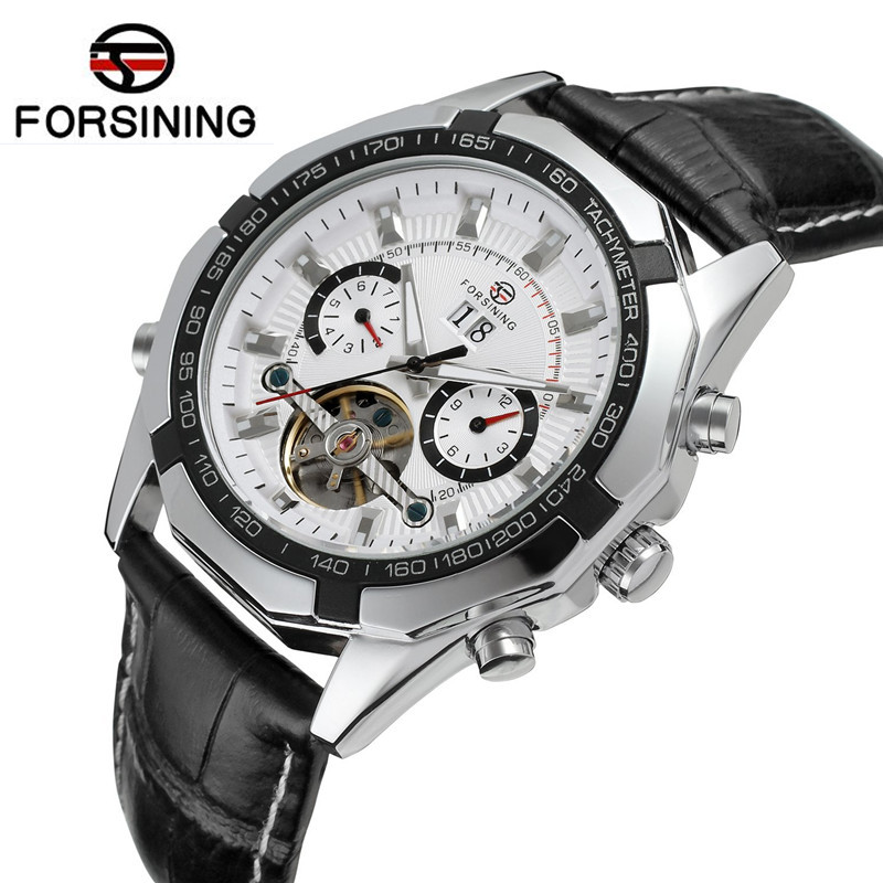 New Forsining Mens Day/Week/24Hours Auto Mechanical PU Leather Watches Wristwatch Gift Box Free Ship<br><br>Aliexpress