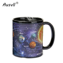 Ausvll Ceramic Cups Newest Style Changing Color Mug Milk Coffee Mugs Friends Gifts Student Breakfast Cup Star Solar System Mugs(China)