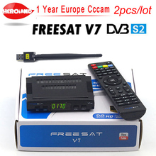 2pcs/lot Satellite TV Receiver decoder Freesat V7 HD DVB-S2 +USB Wfi with 7 line Europe CCCam account support full powervu cccam(China)