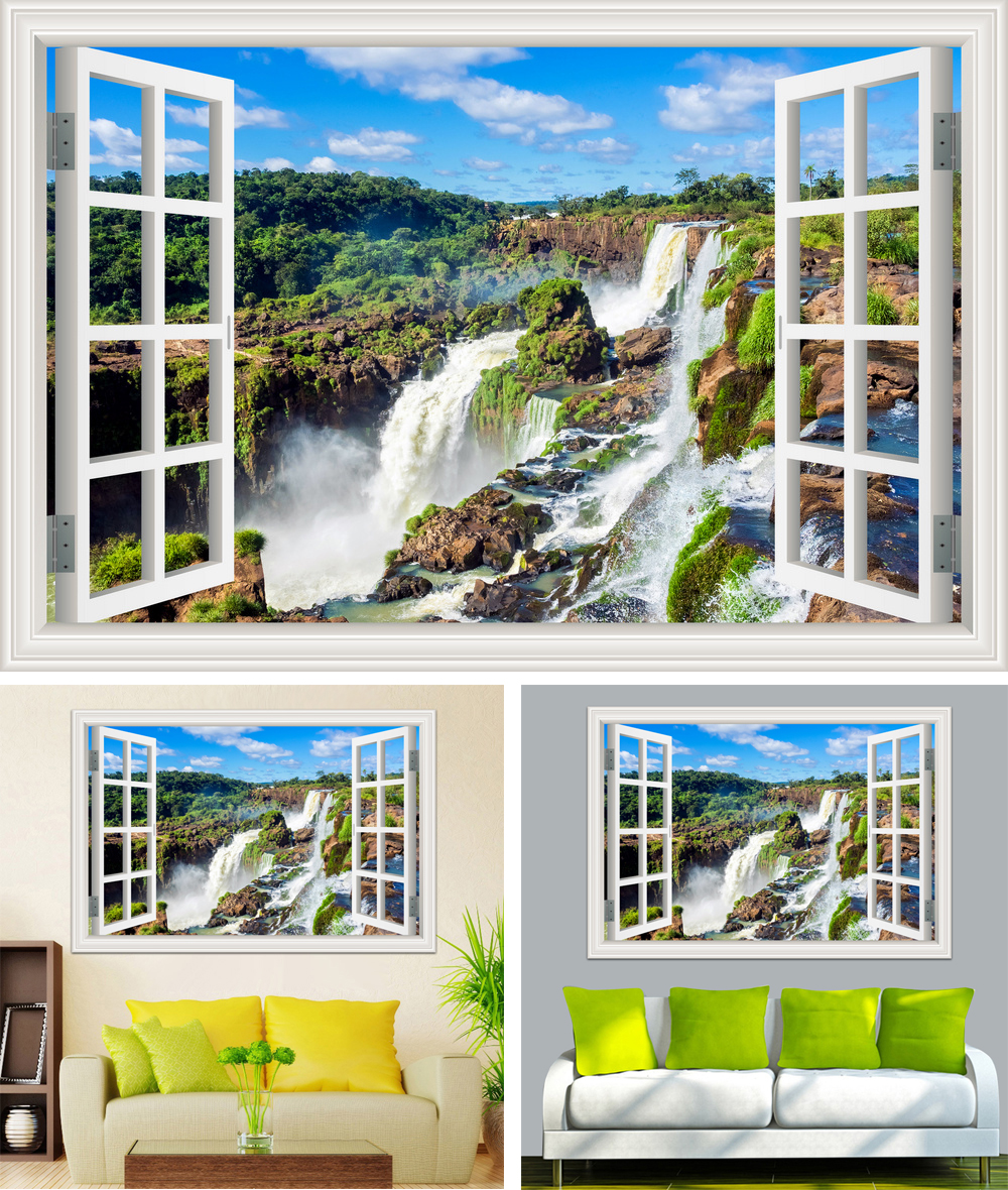 HTB17qL6cGLN8KJjSZFKq6z7NVXap - Waterfall 3D Window View Wallpaper Nature Landscape Wall Decals for Living Room