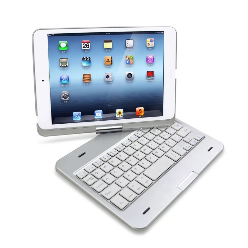 For Apple iPad Mini/iPad min 2 3 Luxury Bluetooth ABS Keyboard & 360 ROTATING Swivel ABS Shell Case Cover With Stand