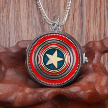 2017 Fashion Popular Captain America Pocket Watch Necklace with Chain for Men Kids Children Boys Gifts Analog Pendant Watches