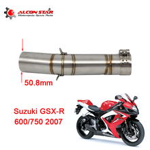 Alconstar-GSXR600/750 Motorcycle Motocross Exhaust Muffler Middle Pipe With Clamp For SUZUKI GSXR600/750 K7 2007 without exhaust(China)