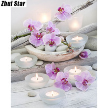 "Full Square Diamond 5D DIY Diamond Painting ""Flower & Candle Stones"" Embroidery Cross Stitch Rhinestone Mosaic Painting Gift"