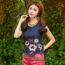 KYQIAO Ethnic t shirt 2017 women summer Mexican style original designer o neck short sleeve blue red white embroidery t shirt