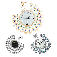 ISHOWTIDENDA   ISHOWTIENDA Vintage Style Peacock Antique Wall Clock for Home Kitchen Office Livingroom Decoration