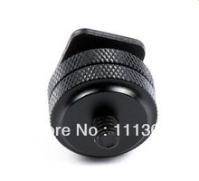 free shipping + tracking number 1/4 Inch Two Nut Mount Adapter For Tripod Screw And DSLR Camera Flash Hot Shoe(China)