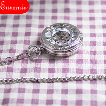 Vintage White Silver Shield Engraved Men Mechanical Hand Winding Pocket Watch Necklace Double Open Case Men Women Luxury Gift