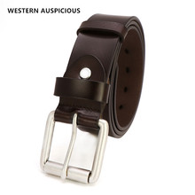 WESTERN AUSPICIOUS Belt Top Leather Belt Men Stylish Alloy Buckle Quality Male Belt Black Coffee Men Belts Genuine Leather Strap(China)