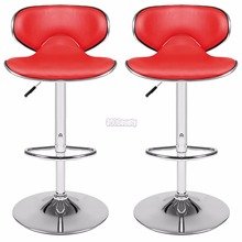Homdox 1 Pair 360 Degree Swivel Bar Chair Faux Leather Kitchen Breakfast Bar Stool Chrome Base Adjustable Lift Chair