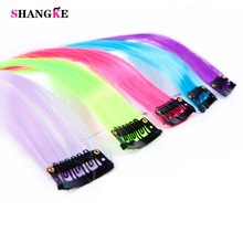 SHANGKE Long Straight Women High Temperature Synthetic Clip in Hair Extension Hairpiece purple pink red blue rose Colorful(China)