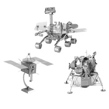 3D Metal Puzzles DIY Model Space machine robot Man-made satellite Mars rover Lunar module Children Jigsaws toys Present Gift