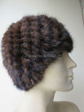 free shipping /Real mink knitted woman's hat /see picture brown(China)