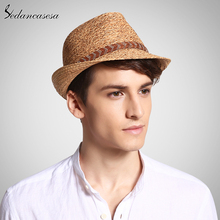 2017 unique raffia straw fedora hat male classic summer beach trilby sun hats for men women UV protection straw cap unisex cool(China)