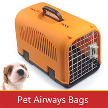 40*24*25cm Wholesale Dog Cage Plastic Pet Carrier Pet Airways Box Checked The Cases Out Luggage Transport Cages(China)