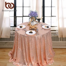 BeddingOutlet Rose Gold Sequin Tablecloth Sparkly Bling Table Cloth Round Trade Show Table Covers Christmas Tablecloths For Gift
