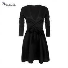 Buy Autumn Winter Women A-line Dresses Ladies Elegant Party Dress Long Sleeve Slim Sexy V Neck Mini Dress robe femme ete 2017 for $8.41 in AliExpress store