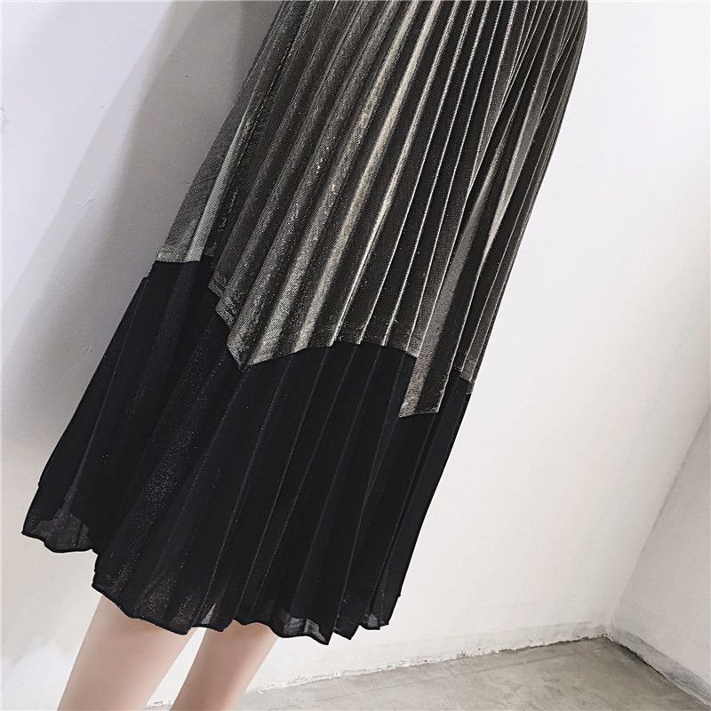 [GUTU] Autumn Summer 2018 Korean New Fashion Patchwork Color Bottoms All-match Elastic Waist Pleated Skirt Loose Women F89201 28