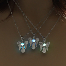 Luminous angel wing Necklace Fashion Silver Color Chain Statement Necklace Glowing In Dark Fashion women Jewelry(China)