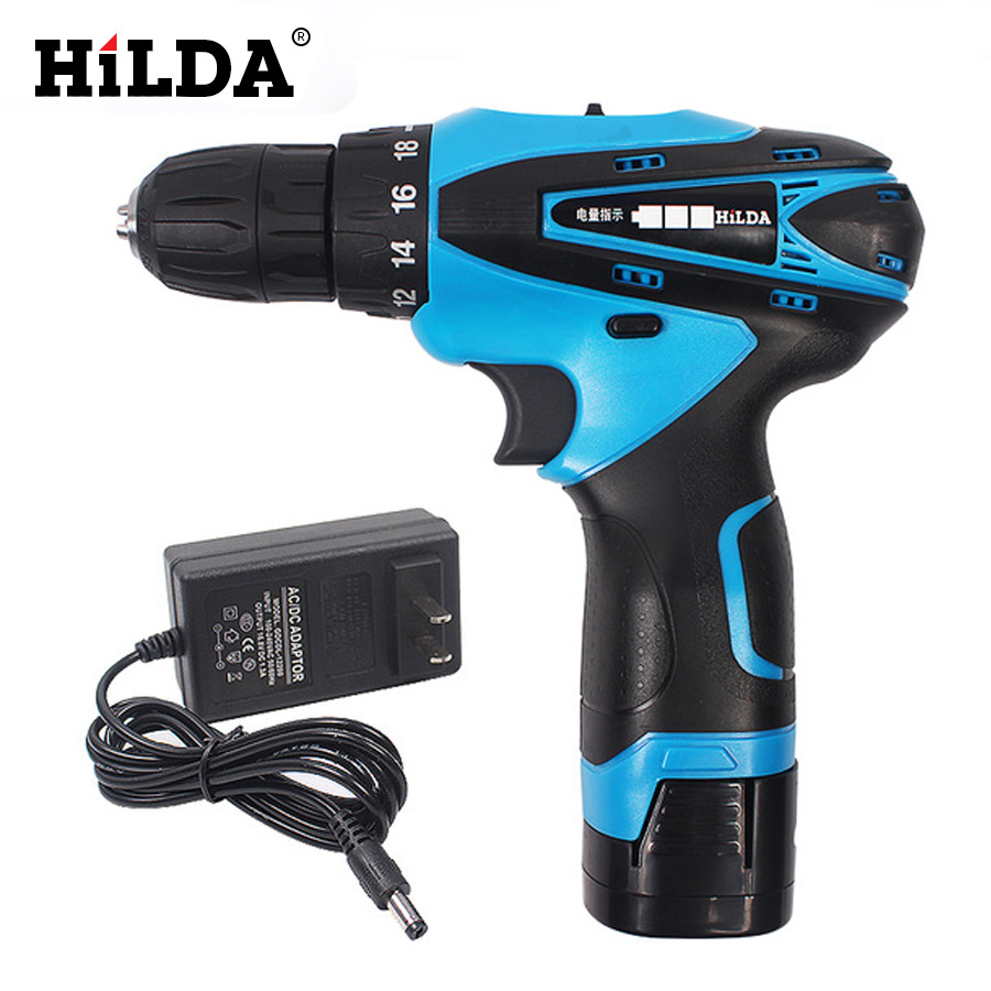 HILDA 16.8V Cordless Electric Drill With Two-Speed Rechargeable Lithium Battery Waterproof Hand Multi-function Power Tool<br>