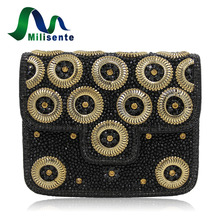 Milisente New Indian Evening Bag Handmade Beaded Full Stones Handbags Designer Clutch Bags Top Quality Black Party Purse