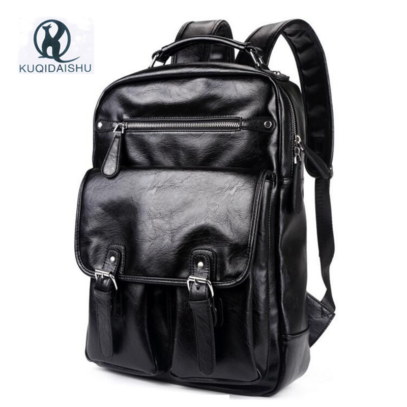 PU Leather Men Backpack Student Bag Vintage Multifunction Slight School Bags For Teenagers Travel Student Bag escolar Bagpack<br>