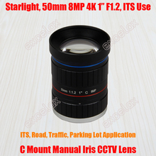 "Starlight 8MP 4K 1"" 50mm F1.2 Manual ITS Road Traffic Surveillance CCTV Lens C Mount for 5MP 6MP 8 Megapixel HD Box Body Camera(China)"