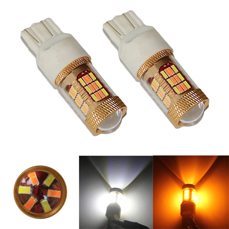 2x Dual Color 54SMD 4014 White + Amber Yellow T20 7443 7440 LED Bulbs For Front Turning Lights DRL &amp;Turn Signal light all in one<br><br>Aliexpress