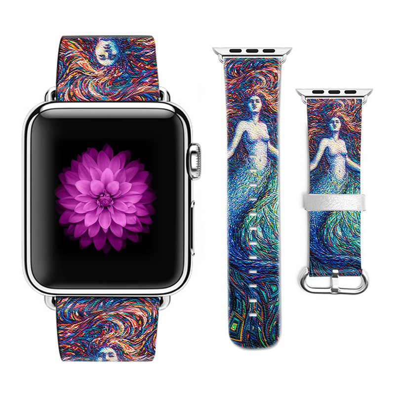 Original Design Mermaid Pattern Leather Sport Band for Apple Watch Bracelet Band 38mm 42mm for Iwatch Strap Gift for IPhone Case<br>