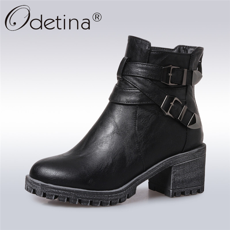 Odetina 2017 New Fashion Women Square High Thick Heel Ankle Boots Platform Black Double Buckle Booties Winter Shoes Plus Size 43<br>