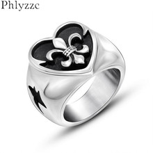 Mens Black Heart Ring Cameo Fleur De Lis Rings Stainless Steel Dolphin Design Cool Biker Jewelry Punk Accessories Male Anel R509(China)