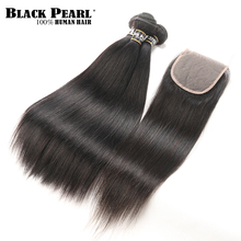 Black Pearl Peruvian Hair Bundles With Closure 4pc/lot Straight Human Hair 3 Bundles with Closure Non-Remy Hair Weave (China)
