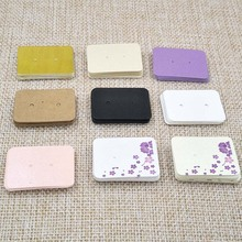100PCS 3.5*2.5cm multi color Paper cute Stud earring HangTag card custom logo cost extra Jewelry Display packing Card(China)