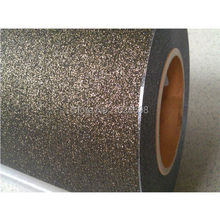 Wholesale Low Price Glitter Flex Heat Transfer Vinyl for T-shirt & other Fabric CDG-07 Black gold color glitter