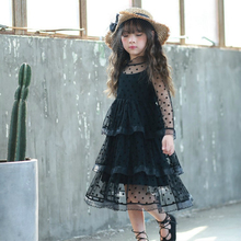 Girl Party Dress Baby Girl Clothes 2017 Summer Girls Fashion Black Flower Pear Long Sleeve Tulle Flower Dresses Kids Clothing