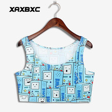 XAXBXC 1049 Summer Sexy Girl Vest Tank Tops Adventure Time Game Box BMO Prints Elastic Slim Sleeveless Fitness Women Crop Top(China)
