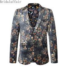 2018 Stylish Multicolor Blazer Men Jackets Graffiti Printed Blazers Prom Party Wedding Tuxedos Stage Wear Coat Men Suit Casual(China)