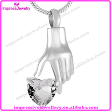 IJD9231 Hold On My Heart 316L Stainless Steel Necklace for Ashes Cremation Urn Jewelry