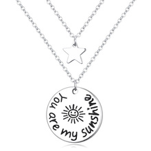 """ You are my sunshine "" Love Pendant Double Chain Necklace Women Men Jewelry Round & Star Simple Necklace Girl Gifts 3 Options(China)"