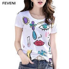 FEVENI 2017 High Quality Rhinestone Abstract Eyes Pattern T shirt Women Short Sleeve Design Cotton Tops T-shirt Plus Size Y03204