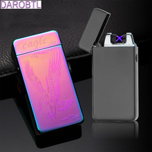 2017 New Double arc lighter frosted shell and carving flower USB rechargeable electronic cigarette lighter windproof lighters